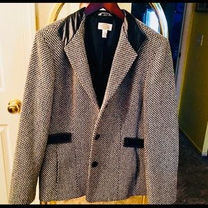 Talbots blazer 12 wool and leather